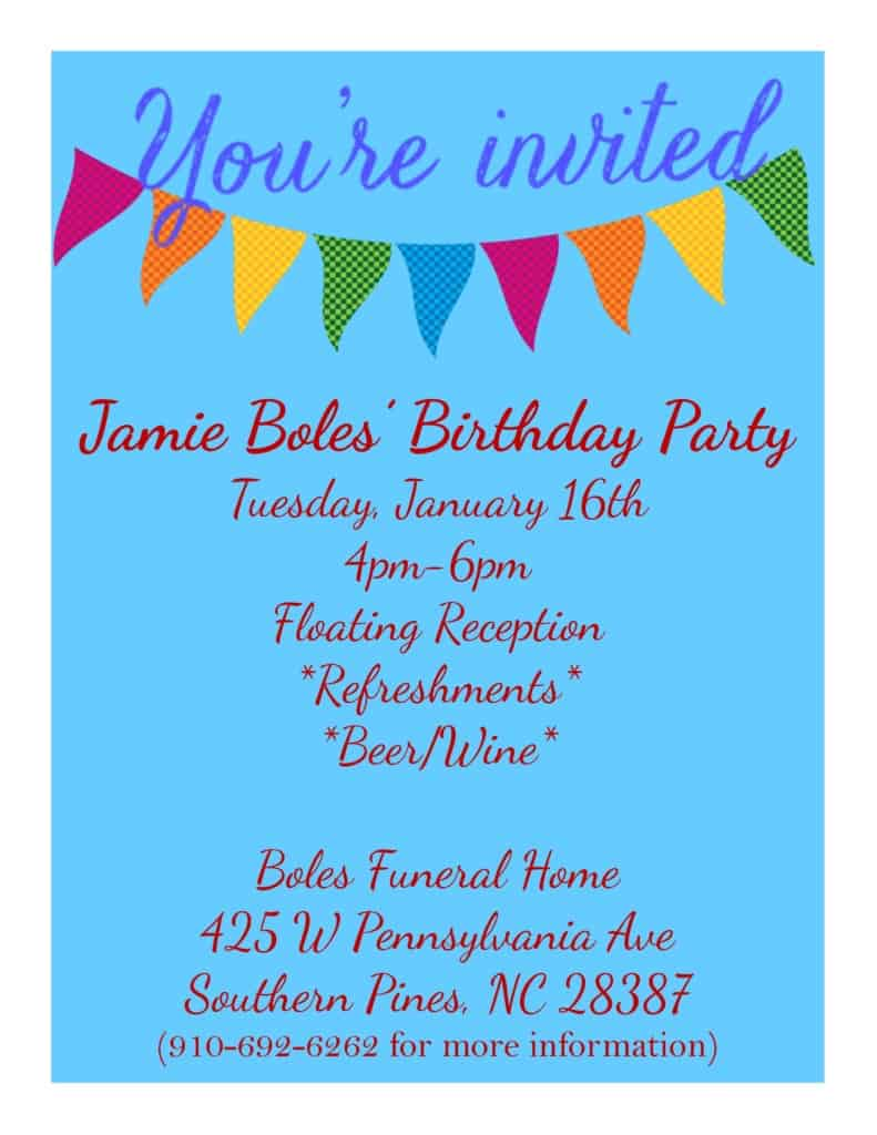 Jamie Boles Birthday Invite